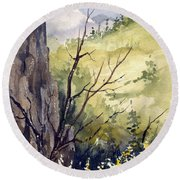 Round Beach Towel featuring the painting Mountain Landscape by Sam Sidders