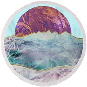 Round Beach Towel featuring the painting Mountain Landscape by Zaira Dzhaubaeva