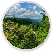 Round Beach Towel featuring the photograph Mountain Laurel And Ridges by Thomas R Fletcher