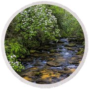 Mountain Laurels Light Up Panther Creek Round Beach Towel