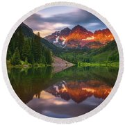 Round Beach Towel featuring the photograph Mountain Light Sunrise by Darren White