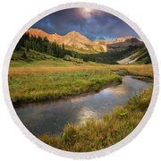 Mountain Light Round Beach Towel