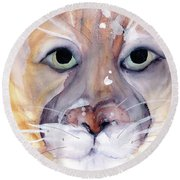 Round Beach Towel featuring the painting Mountain Lion by Dawn Derman