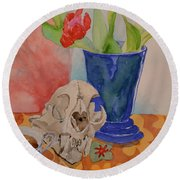 Round Beach Towel featuring the painting Mountain Lion Skull Tea And Tulips by Beverley Harper Tinsley