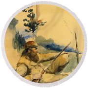 Round Beach Towel featuring the drawing Mountain Man by Charles Schreyvogel