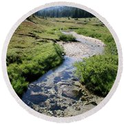 Mountain Meadow And Stream Round Beach Towel