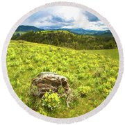 Mountain Meadow Impressionist Digital Art Round Beach Towel