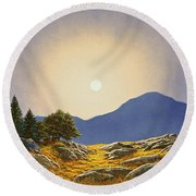 Mountain Meadow In Moonlight Round Beach Towel