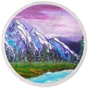 Mountain Meadow Landscape Scene Round Beach Towel