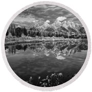 Mountain Monochrome Round Beach Towel