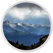 Mountain Moodiness Round Beach Towel