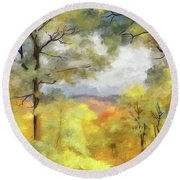 Mountain Morning Round Beach Towel