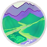 Mountain Murmurs Round Beach Towel