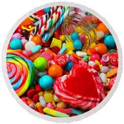 Mountain Of Candy Round Beach Towel