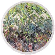 Mountain Of Many Colors Round Beach Towel by George Riney