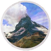 Round Beach Towel featuring the photograph Mountain Of Mountains  by Connie Handscomb