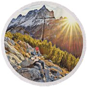 Mountain Of The Lord Round Beach Towel