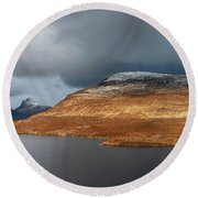 Mountain Pano From Knockan Crag Round Beach Towel