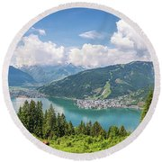 Mountain Panorama Beauty Round Beach Towel