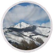 Mountain Peak Round Beach Towel by Jewel Hengen