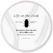 Mountain Pine Beetle Black On White Round Beach Towel