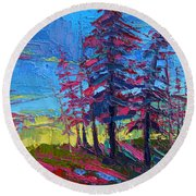 Mountain Pine Trees Over A Sunset Modern Impressionistic Palette Knife Oil Painting Round Beach Towel