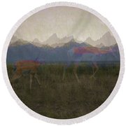 Mountain Pronghorns Round Beach Towel