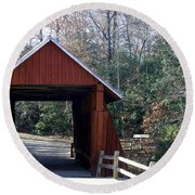 Campbells Covered Bridge 3 Round Beach Towel by Cathy Harper