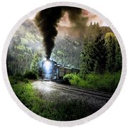 Round Beach Towel featuring the photograph Mountain Railway - Morning Whistle by Robert Frederick