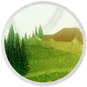 Round Beach Towel featuring the painting Mountain Rain by Bill OConnor