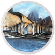Mountain Reservoir Round Beach Towel by Hal Tenny