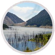 Mountain River Round Beach Towel