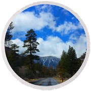 Mountain Road On A Spring Day Round Beach Towel