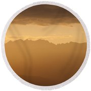 Mountain Shadows Round Beach Towel by Colleen Coccia