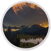 Round Beach Towel featuring the photograph Mountain Show by Gene Garnace