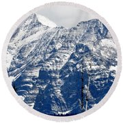 Mountain Snow Round Beach Towel