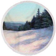 Mountain Stillness Round Beach Towel