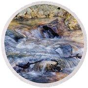 Round Beach Towel featuring the photograph Mountain Stream by Elaine Malott