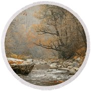 Mountain Stream In Fall #2 Round Beach Towel