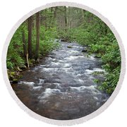 Round Beach Towel featuring the photograph Mountain Stream Laurel by John Stephens