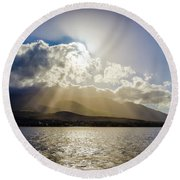Mountain Sunbeams Round Beach Towel