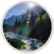 Round Beach Towel featuring the photograph Mountain Sunburst by Margaret Pitcher