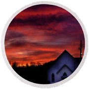 Round Beach Towel featuring the photograph Mountain Sunrise And Church by Thomas R Fletcher