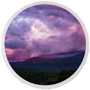 Mountain Sunset In The East Round Beach Towel