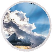 Round Beach Towel featuring the photograph Mountain Sunset Sightings by Shelby Young
