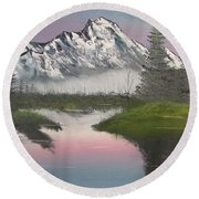 Mountain Sunset Round Beach Towel
