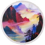 Mountain Top Sunrise Round Beach Towel