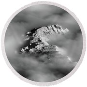 Round Beach Towel featuring the photograph Mountain Tops  Peeking Through The Clouds In Black And White by James BO Insogna
