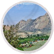 Mountain Town Round Beach Towel