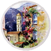Round Beach Towel featuring the painting Mountain Town, Spain by Rae Andrews